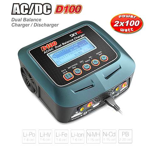 SKYRC D100 AC/DC Dual Balance 10A Charger 5A Discharger Car 1:10 #SK-100089-02 skyrc d100 2 100w ac dc dual balance charger 10a charge 5a discharge nimh lipo battery charger twin channel charge