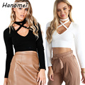 Hipster Front Cross Long Sleeve Tops Choker T Shirt Women 2017 Sexy Deep Vneck Crop Top Solid T-shirt Short tee shirt femme C52