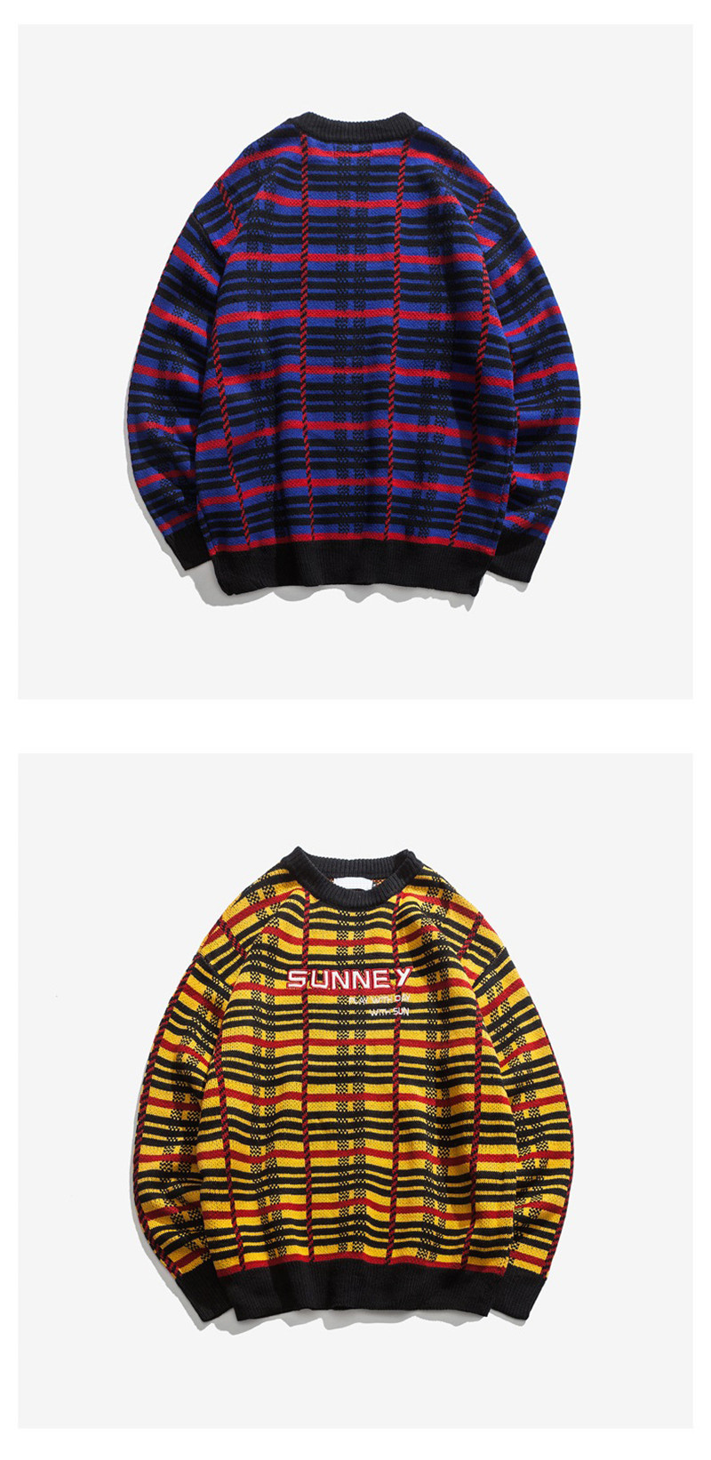 Knitted Harajuku Casual Embroidered Letter Plaid Sweater for Men Japanese Style Urban Boys Knit Pullover Jumper Plus Size M-XL 8