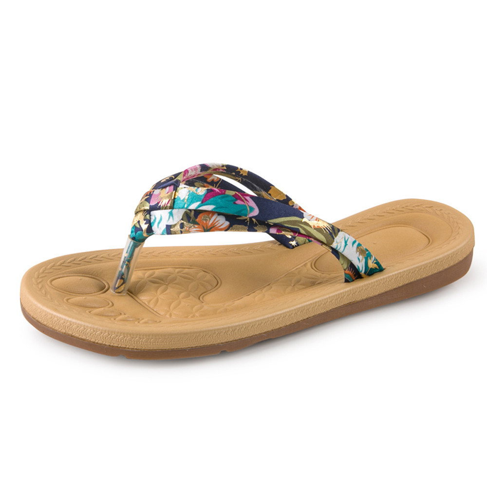 Women Fashion Summer Flat Flip Flops Sandals Loafers Bohemia Shoes Female platform summer sandals Slip-on Shoes zapatos mujer cresfimix zapatos women cute flat shoes lady spring and summer pu leather flats female casual soft comfortable slip on shoes