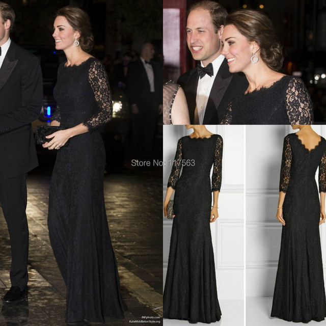 Black Lace Dress Kate Middleton to the Royal Variety Performance Long Celebrity Dress Women Gown Free Shipping CD067