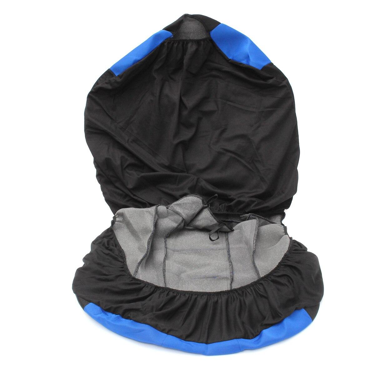 Four Seasons Universal Blue Black Car Seat Covers Front Rear Protectors 9 Piece Set Washable Automobiles Seat Cover