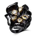 Anéis de flores Para As Mulheres Preto Banhado A Ouro Sem Chumbo bonito anéis Feitos com AAA Cubic Zirconia Alergia Livre