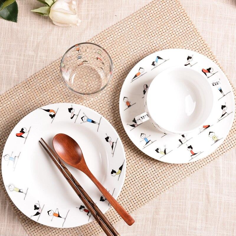 Yoga tjejer Bone China Porslin Set Bowl Househol Plate Bowl Dubbel - Kök, matsal och bar