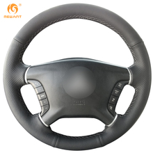MEWANT Black Genuine Leather Car Steering Wheel Cover for Mitsubishi Pajero 2007-2014 Galant 2008-2012