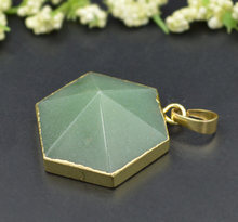 YA1473 Aventurine Satellite Hexagon Pendant 26x30x14mm Choose Gold or Silver for 18inch /24inch /30inch chain(China)