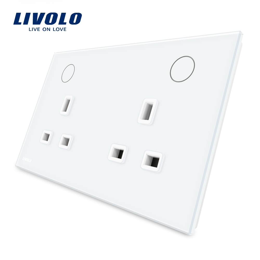 Livolo Manufacturer UK Standard Wall Power Socket, White Crystal Glass Panel, 13A Wall Outlet, VL-W2C2UK-11/12 uk socket wallpad crystal glass panel 110v 250v switched 13a uk british standard electrical wall socket power outlet uk with led