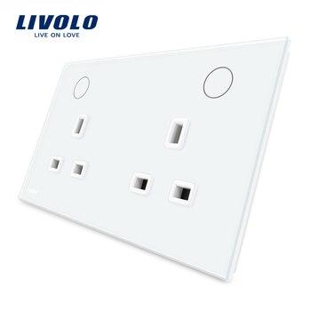 Livolo Producent UK Standard Gniazdko Ścienne, Biały Kryształ Szklany Panel, 13A Gniazdka, VL-W2C2UK-11/12