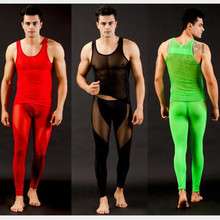 New Sexy Men Long johns set Ice Silk Nylon Trousers Thermal Underwear Slim Tight Transparent Gauze Johns  5 colors