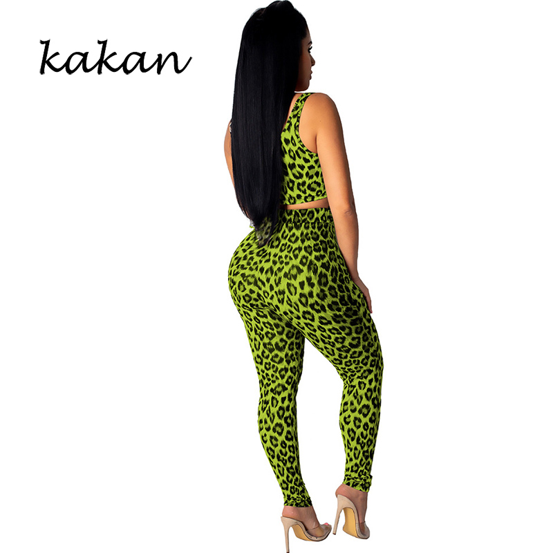 Kakan summer new women 39 s sexy leopard tight bodysuit two piece suit green jumpsuit club party jumpsuit in Jumpsuits from Women 39 s Clothing
