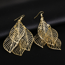 Trendy trendy style simple hollow multi-layer leaves tassel long earrings 2019  jwelry womens jewelry gold for women