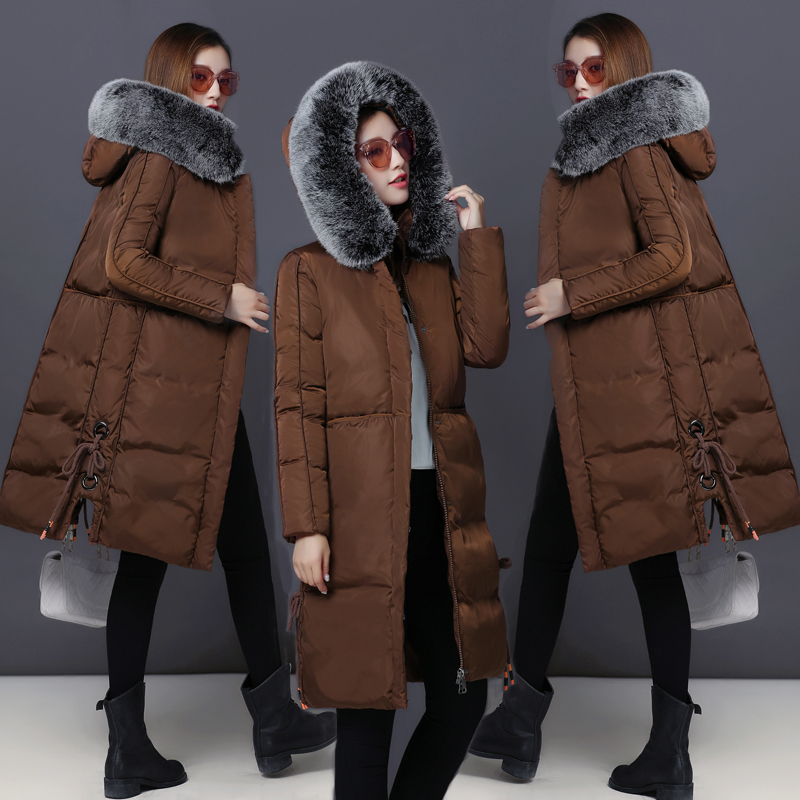 Warm Snow Wear Women Cotton Coat Fur Collar Hood Parkas High Quality Fashion Zipper Long Jacket Thick Plus Size Outwear MY0011 snow wear 2017 high quality winter women jacket cotton coats fur collar hooded parkas fashion long thick femme outwear cm1346