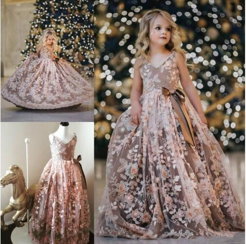 New   Girls   Pageant   Dress   Kids Birthday Party Gown V Neck A Line Puffy Tulle Applique   Flower     Girl     Dress   for Wedding Custom Made