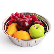 LANSKYWARE Chinese Stainless Steel Colander Kitchen Fruit Vegetable Strainer Rice Wash Sieve Mesh Bowl Tools Mixing