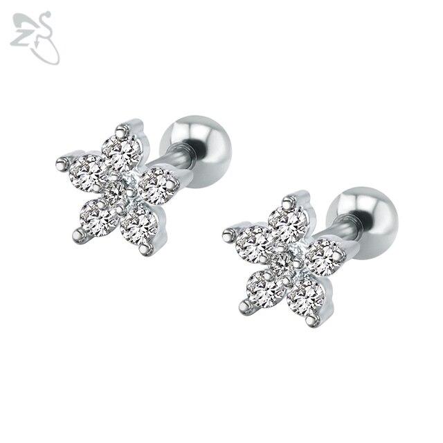 Mận Hoa Bông Tai Phẫu Thuật Thép Brinco Cubic Zircon Đá Piercing Ear Studs Thời Trang Đồ Trang Sức Cho Cô Gái Nữ Người Bạn Tốt Nhất
