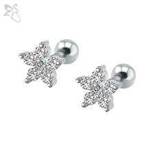 e46cd74684ff Flores de ciruela pendientes de acero quirúrgico Brinco piedra de circonio  cúbico Piercing pendientes de joyería de moda para la.