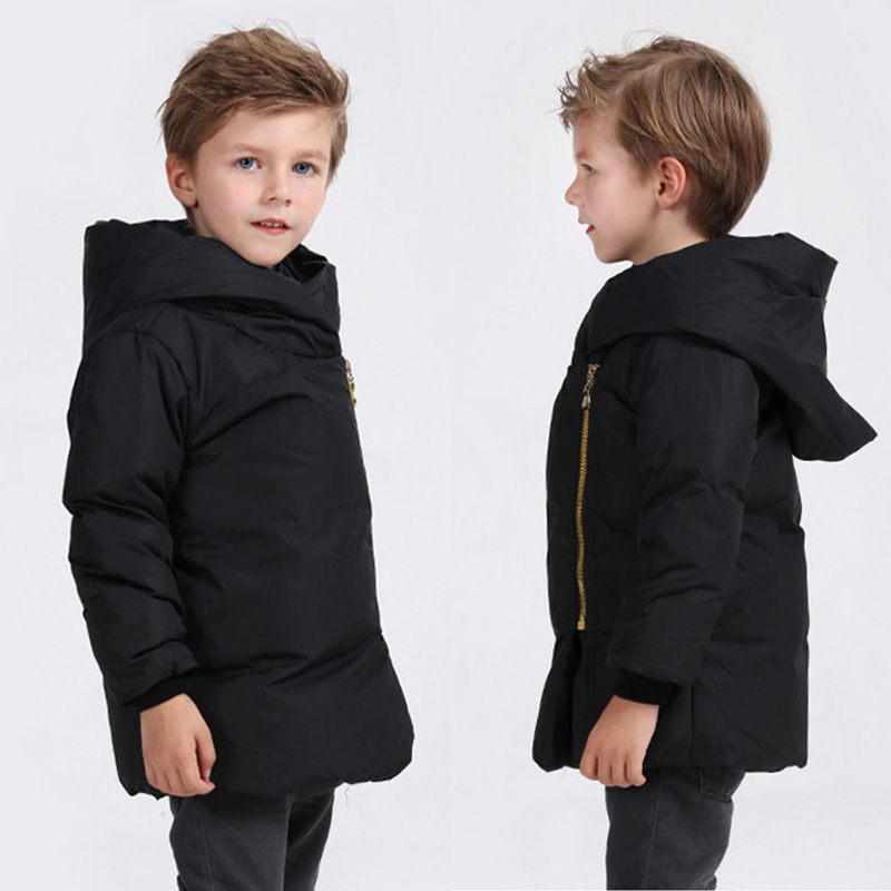 ФОТО Christmas Clothes Winter Coat 2016 New Style Kids Boys Girls Warm Solid Down Jacket Inclined Zip Down Coat Girl Winter Outerwear