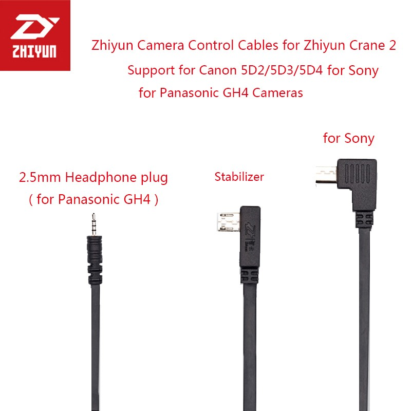 Zhiyun Camera Control Cables Support Zhiyun Crane 2 Crane M Gimbal for Panasonic GH4 for Canon 5D4 5D2 5D3 for Sony Camera