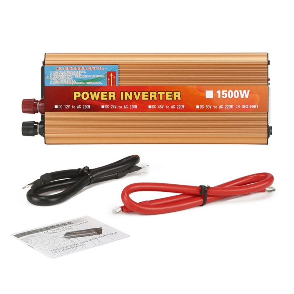 Portable Car Power Inverter 1500W DC 12V to AC 220V Modified Sine Wave Charger Converter Voltage Regulator Inverter for TV DVD new acehe 1500w car dc 12v to ac 220v overload protection reverse polarity protection power inverter charger converter