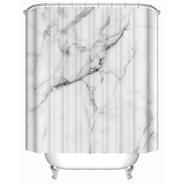 Wild Symbol Marble Pattern Bathroom Shower Curtain White And Grey