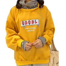 Harajuku korea Hoodie Women Yellow Fleece Loose Sweatshirt Hip Hop Casual Pullover Hoodie Streetwear Swag Hoodie 2018 Autumn(China)