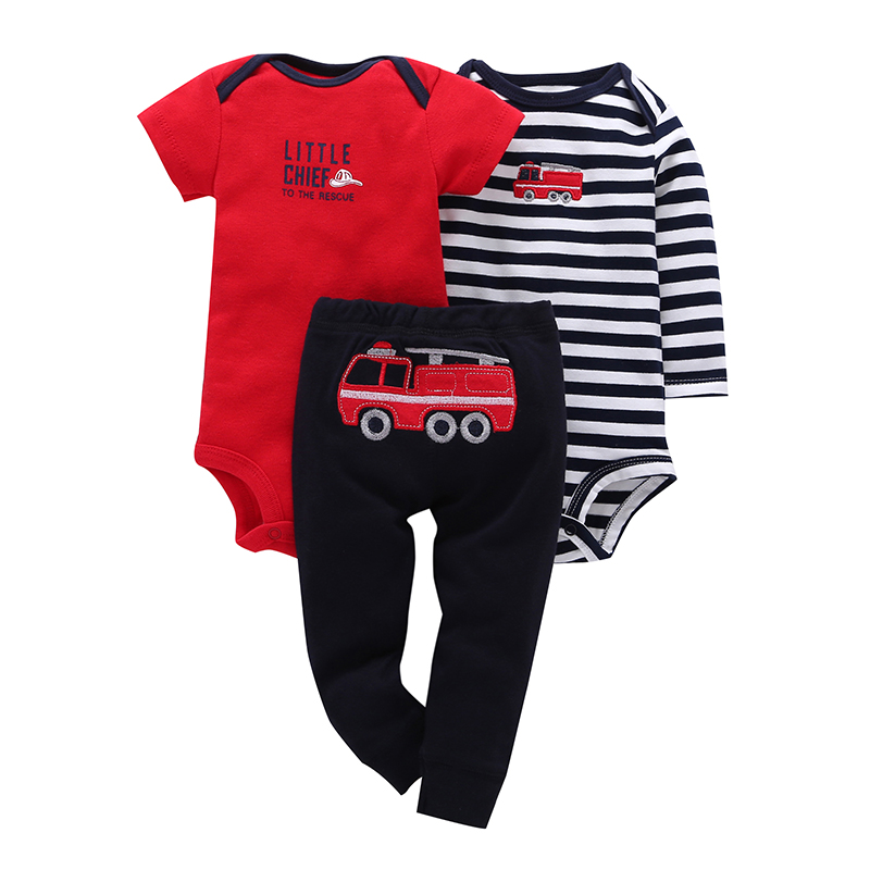 3 Pieces Sets Character Fire Truck Striped Short Sleeve Infant 0-2y Baby Boy Girl One Piece Romper Full Length Pants New Brand