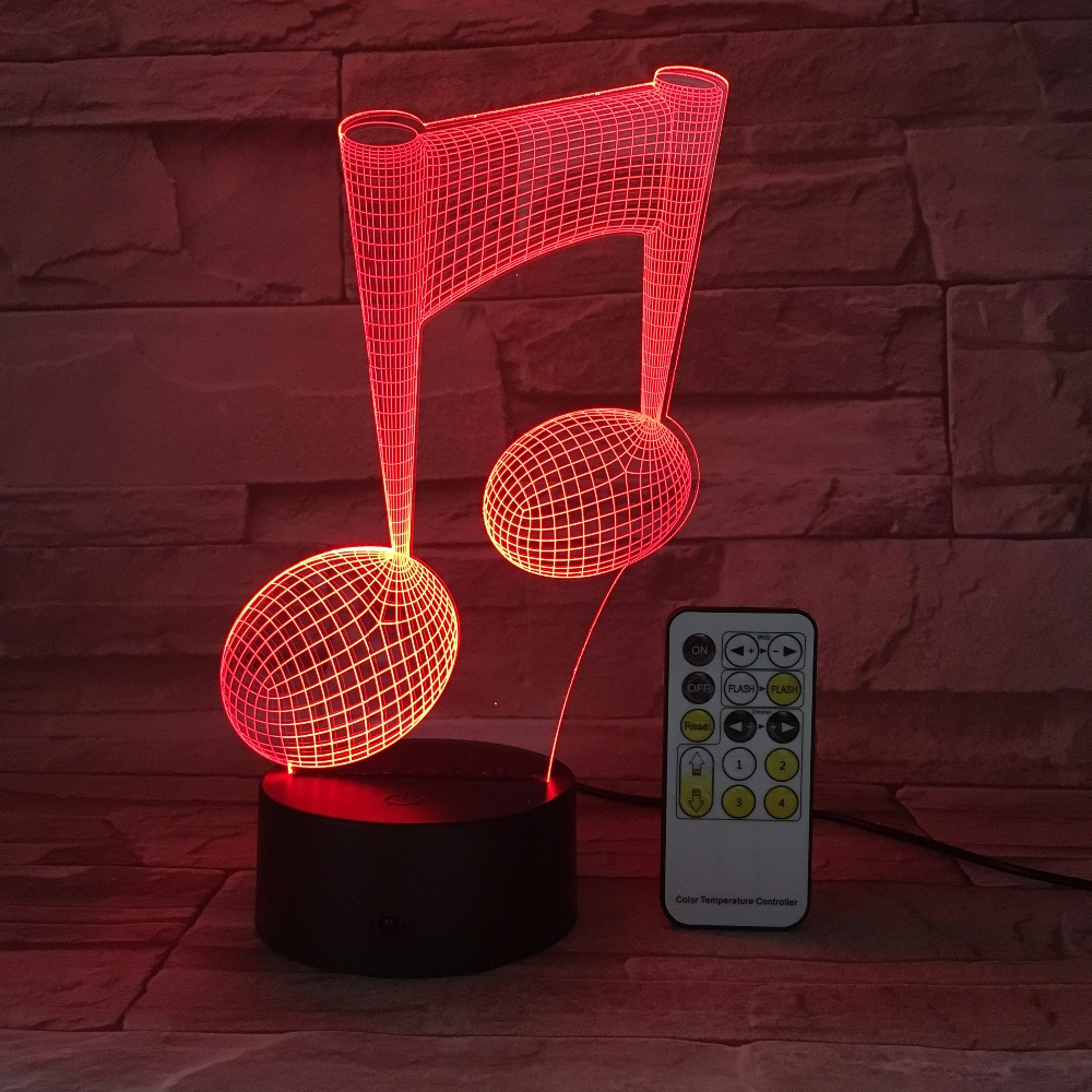 Remote Or Touch Light 3D LED Lamp Musical Note LED Night Light USB Table Desk Lamp Bedside Nightlight As Gift For Music Love