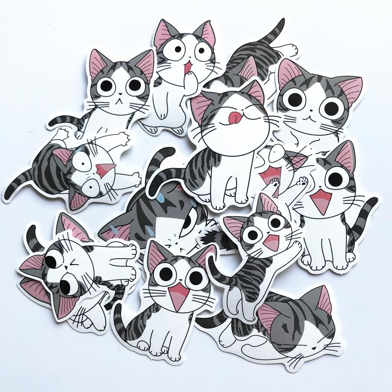 14Pcs/lot Anime Chi's Sweet Home Sticker For Decal Backpack Car Laptop Motorcycle Phone Pad Kids Toy Lovely Cat Sticker