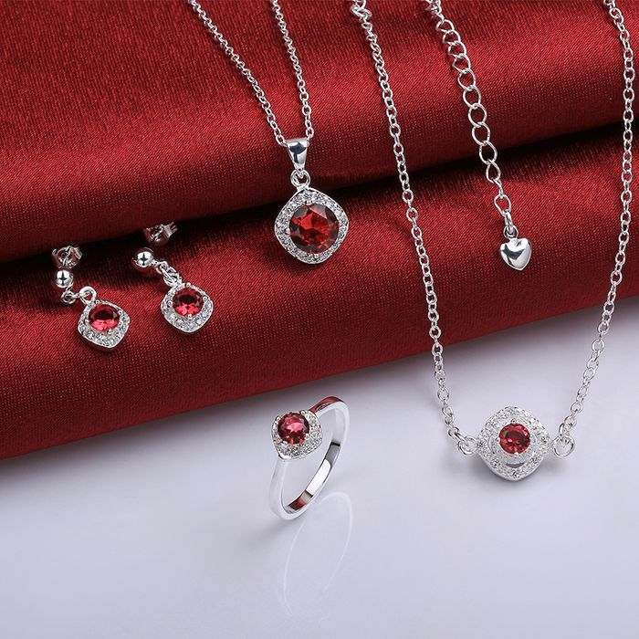 925 Sterling Silver Jewelry Set, Monili Di Modo Impostato A037-a Orecchino 428 Collana 464 Anello 328-8/imdardka Ijqaraxa S780-a Superficie Lucente