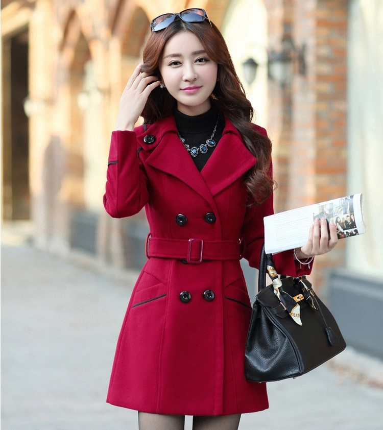 YAGENZ M-3XL Autumn Winter Wool Jacket Women Double Breasted Coats Elegant Overcoat Basic Coat Pockets Woolen Long Coat Top 200 6