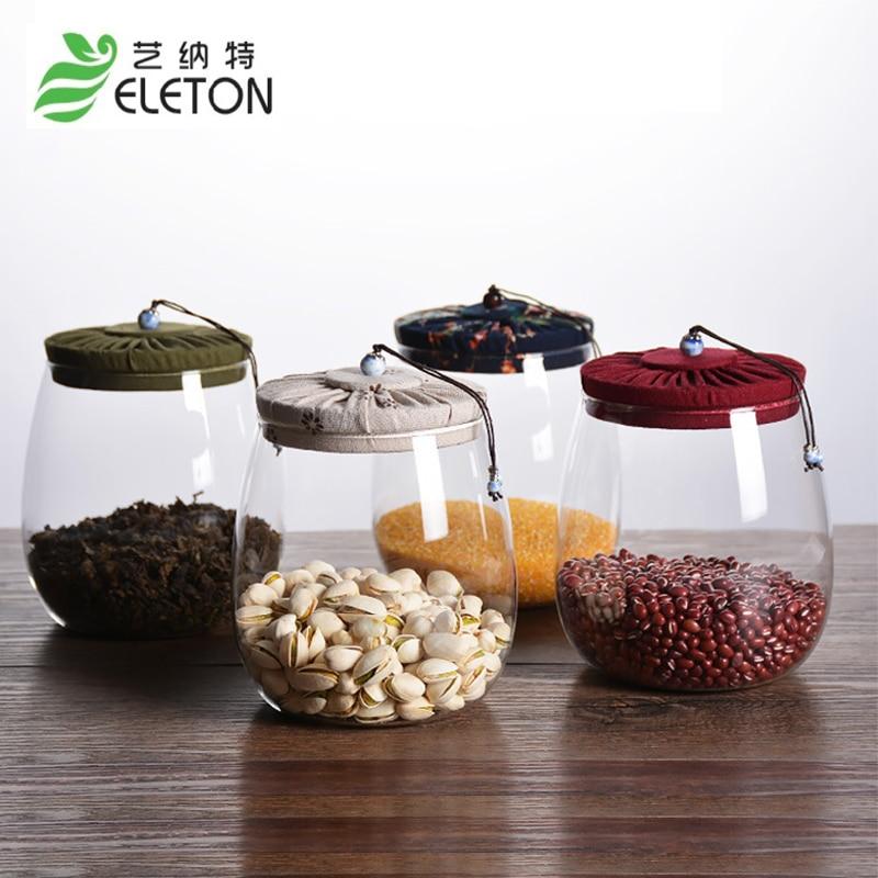 エレトンコルクガラスティーポットカバーシールボトルクリエイティブ透明キャンディー茶穀物貯蔵タンクメイソンジャーキッチンアクセサリー