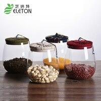 Eleton الفلين والزجاج الشاي وعاء غطاء خزان مختومة زجاجة الإبداعية شفافة الحلوى الشاي الحبوب ميسون الجرار مطبخ