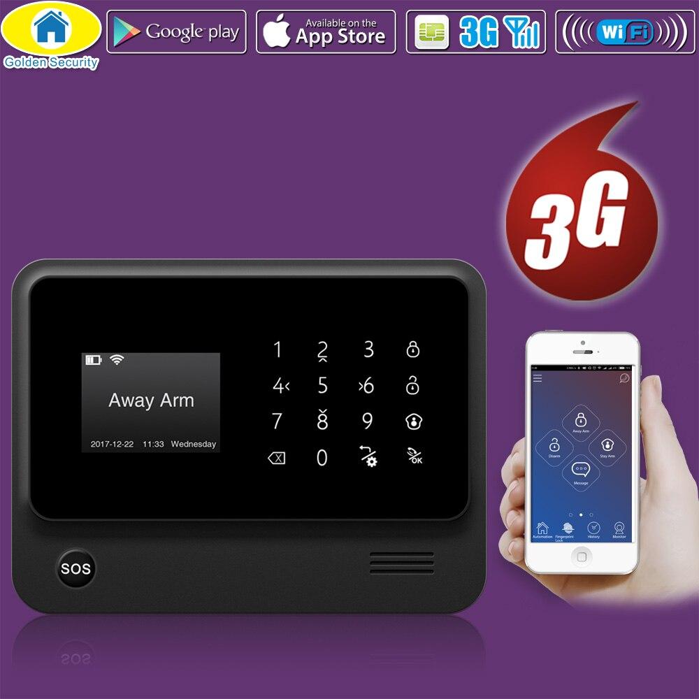 Golden Security Wireless Home Security WIFI GSM 3G GPRS APP Remote Control Alarm System Panel With EN RU FR ES SE NL TR