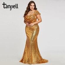 Tanpell длинные плюс вечернее платье ES Золотой женщин квадратный воротник Короткие рукава длина до пола Прямо платье Дешевые Формальное вечернее платье