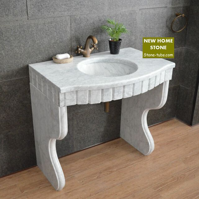 Marble pedestal sink vanity bathroom design idea cabinet wash basin carrara countertop
