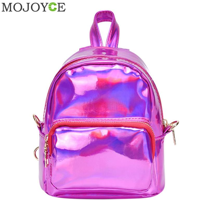 Holographic Laser Women Backpack Waterproof Pu Leather Mochila Mujer Mini Backpack Female Small Zipper Bagpack Shoulder Bag