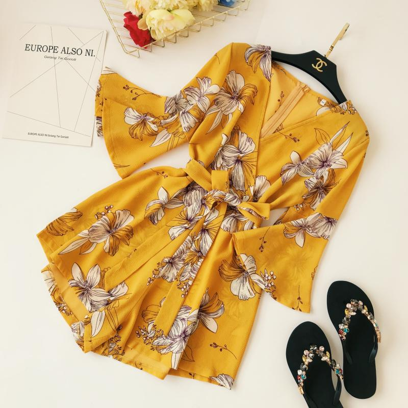 Yellow Red Floral Print Bow Wide Leg Lace Up Yellow Romper Jumpsuit 6