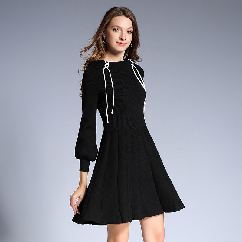 Elegant fashion women knitted dress with drawstrings spring long sleeve round collar comfortable pure color lady dresses HM1125 fashion elegant m