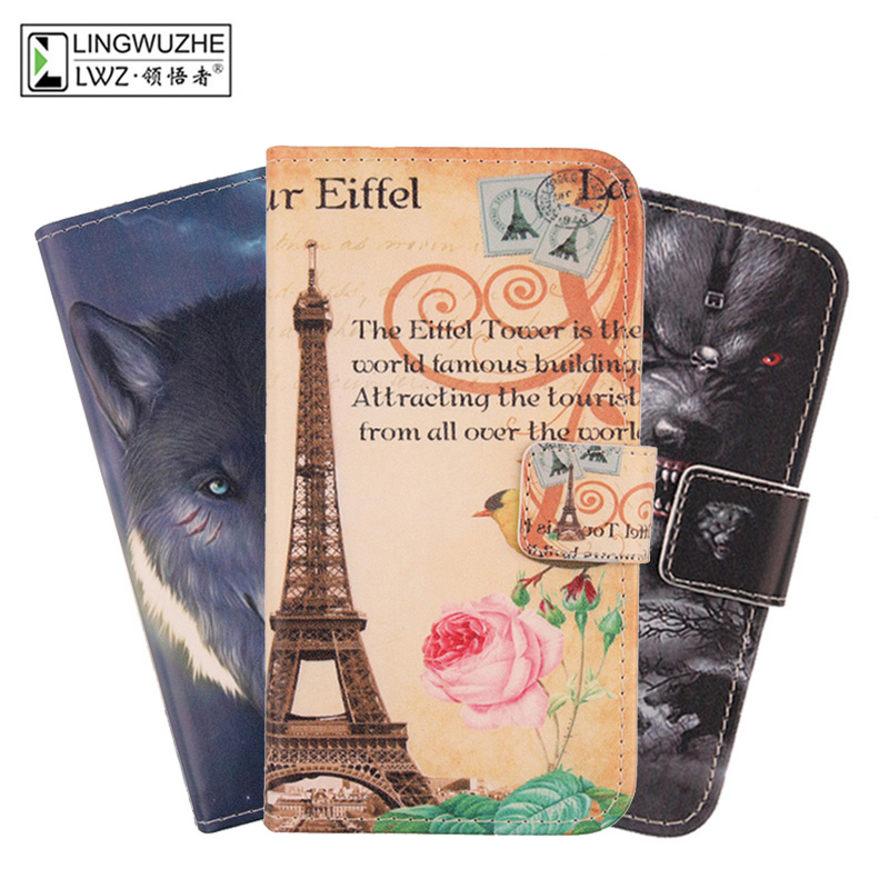 LINGWUZHE Printing PU Leather <font><b>Cell</b></font> <font><b>Phone</b></font> Case wallet Design Protector Cover for <font><b>Xgody</b></font> Y12 6&#8243;