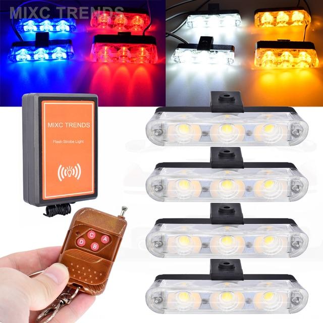 Bezprzewodowe zdalne światło stroboskopowe Led Car Truck Flash Signal awaryjne strażak Police Beacon światła ostrzegawcze czerwony niebieski bursztynowy biały 12V