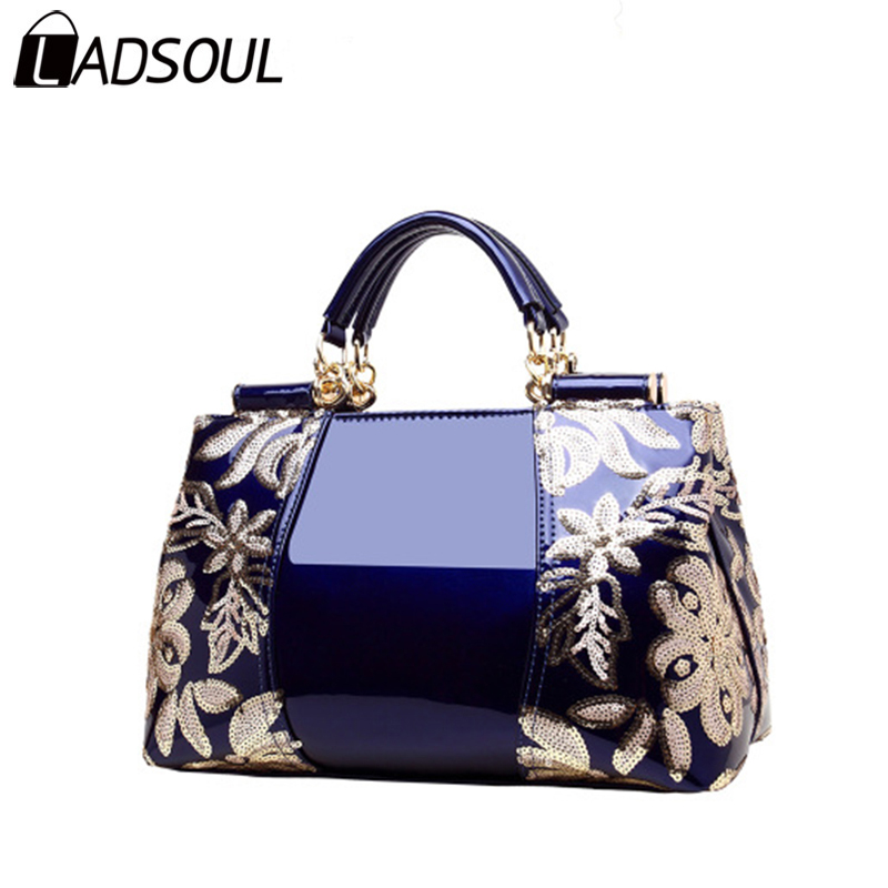 LADSOUL Handbag Women Leather Handbags Fashion Women Sequins Bag Bags For Girl Female Elegant Shining Women