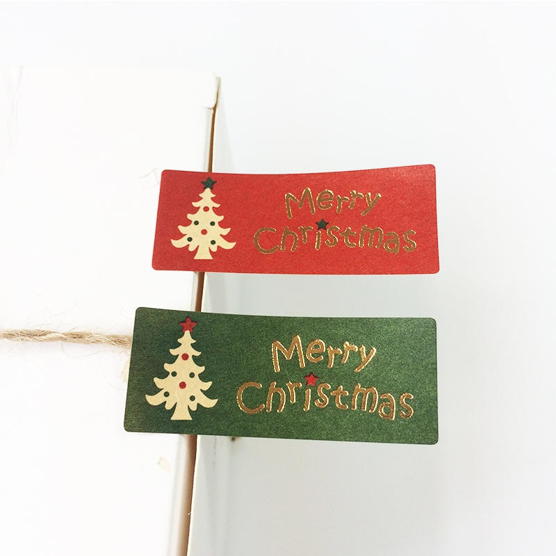 100PCS Merry Christmas tree Gilding Seal gift Sticker for DIY Multifunction baking package Label merry christmas tree print wall tapestry