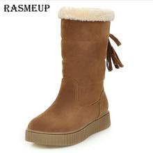 RASMEUP Women Snow Boots New Winter Fashion Plush Warm Tassel Mid-calf Boot Black Women's Flat Shoes Woman Casual Slip On Boots