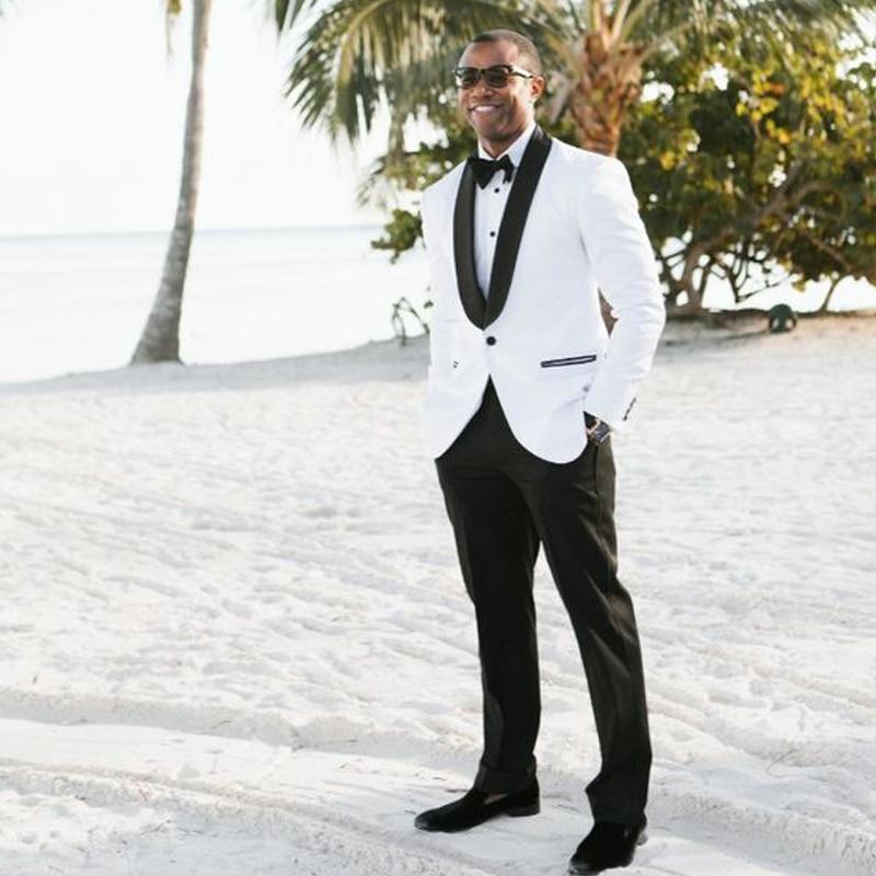 African White Mens Suit for Wedding Black Lapel Groom Tuxedos 2 Pieces Jacket+Pants Best Man Tuxedo