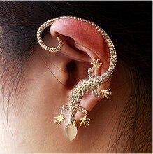 XUBCHC Gold Fashion Rhinestone Ear Cuff Earrings Gold Silver luxury Elegant Gecko Stud Earrings For Women Jewelry