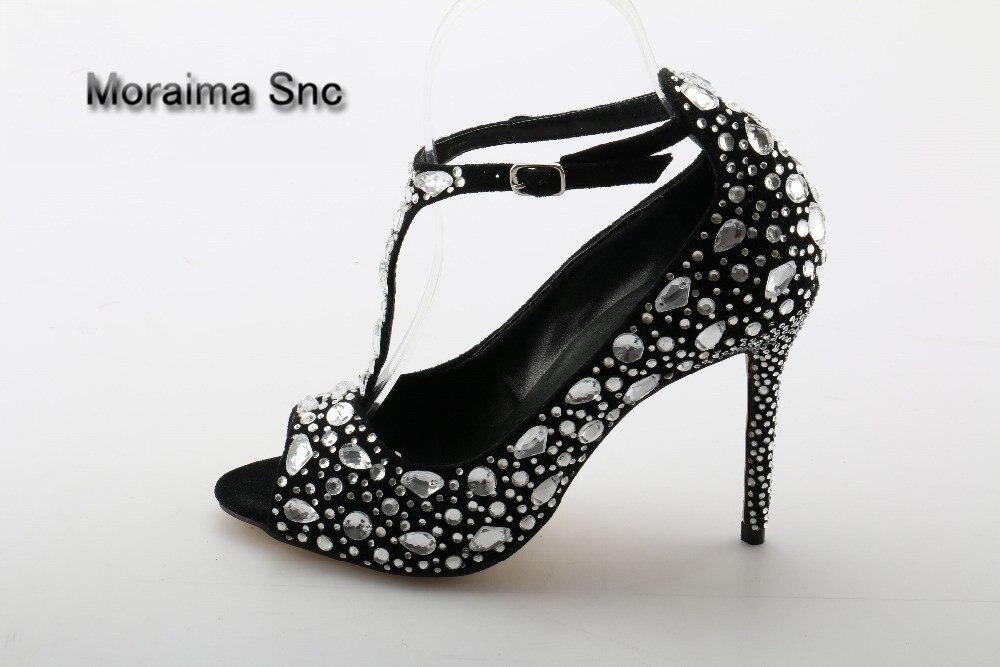 Moraima Snc brand pumps size 43 peep toe high heels shoes women Luxury diamonds shoes ankle strap stiletto crystal thin heels luxury brand shoes women peep toe