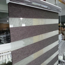Custom Size Shade 100 Polyester Translucent Roller Zebra Blinds in Brown Window Curtains for Living Room