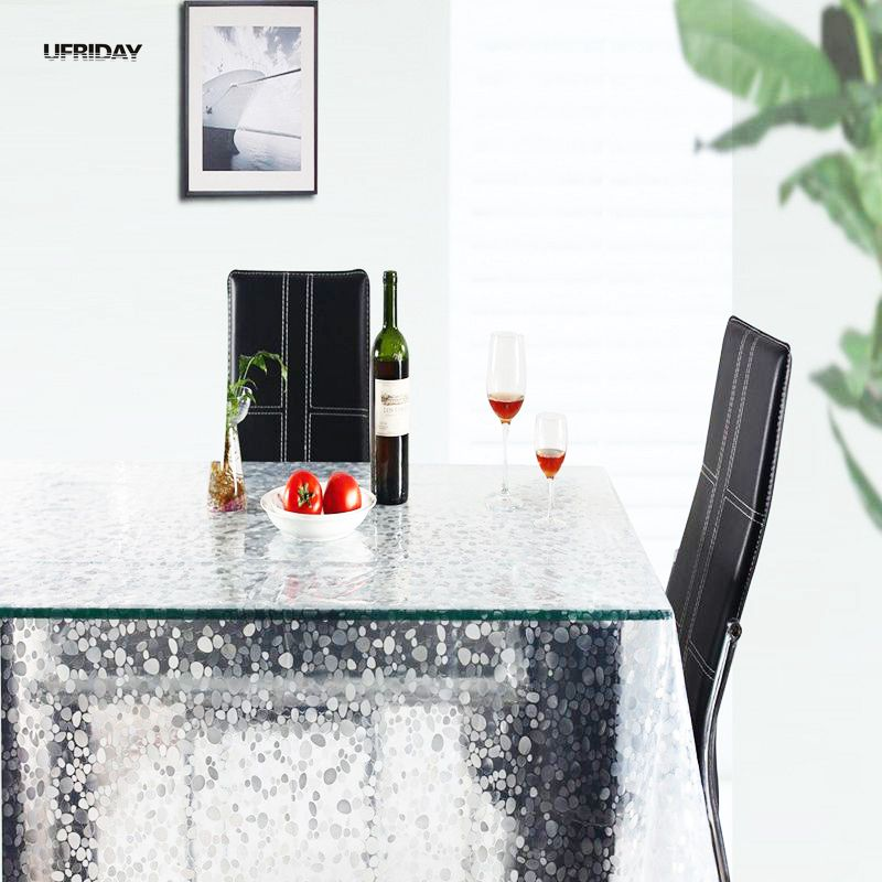 UFRIDAY PVC Bordduk Genomskinlig Rektangulär Pebble Vattentät Plast Bordsduk Tunt Mjukt Glas Kaffe Te Oljeborddukar
