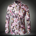 Chinese style flower pattern exquisite printing high-end shirt 2016 Autumn&Winter fashion casual cotton quality men shirt M-5XL