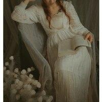 LYNETTE'S CHINOISERIE Spring Autumn Original Design Women Exquisite Oil Painting Lace Victoria Royal Vintage Lace White Dresses